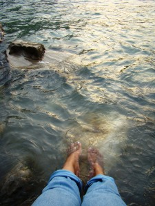 With my feet in the Ganga.
