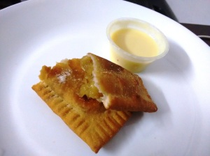 The apple hand pie, with a side of rather thin custard.