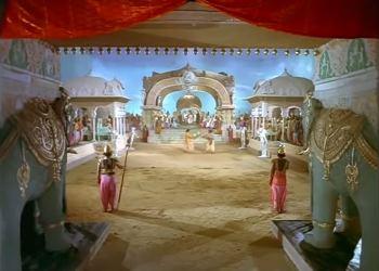 The wrestling match at Dhritrashtra's court