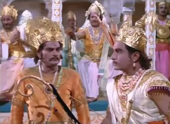 Duryodhan bestows the kingship of Anga on Karna