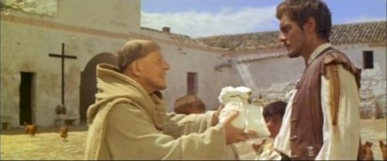 Brother Joseph gives Rodrigo some flour - and instructions