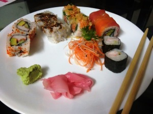 An array of sushi.