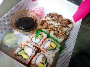 Chicken katsu roll and California roll, from Sushi Haus.