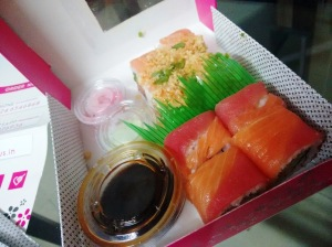 Spicy salmon roll and Red Dragon Roll from Sushi Haus.