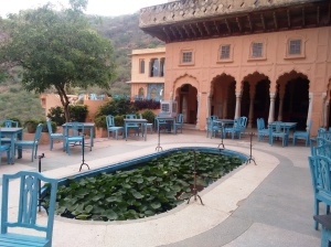 A courtyard with a lotus pond, in Neemrana.