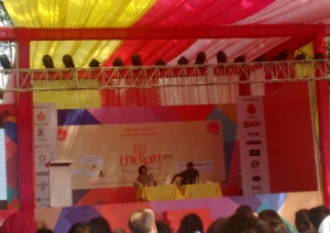 Seen from afar, but that's Nayantara Sahgal in conversation with Kiran Nagarkar.