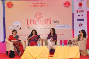 At the 'Potpourri' session: Ratna Vira, Me, our moderator Puneet, and Tishani Doshi.