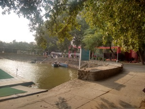 A view of the Sukhna Lake club grounds and the lit fest stalls .