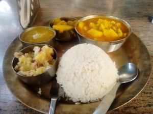 The fish thali at the Assam stall.