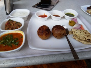 The litti-chokha thali at the Bihar stall.