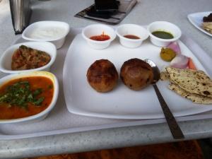 The litti-chokha thali at the Bihar stall.