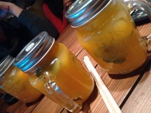 Farzi OK: orange juice, orange chunks, and kaffir lime leaves.