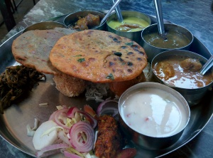 The very generous, very good value for money thali at the Rajasthan Stall.