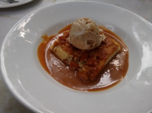 Almond bread pudding with caramel sauce and fig ice cream; what a farce the 'bread pudding' was!