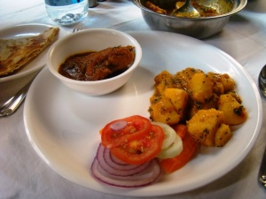 Some of the good stuff: chicken curry and pahaari aloo.