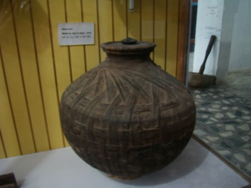 At the Museum: a hide waterpot, waterproofed with algae.