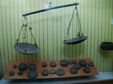 Scales and measures from 1886. Note the weights, which include 1 seer.