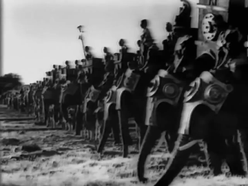 A scene from the Battle of the Hydaspes as shown in Sikandar (1941)