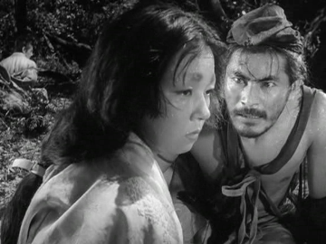 Toshiro Mifune and Machiko Kyo in Rashomon