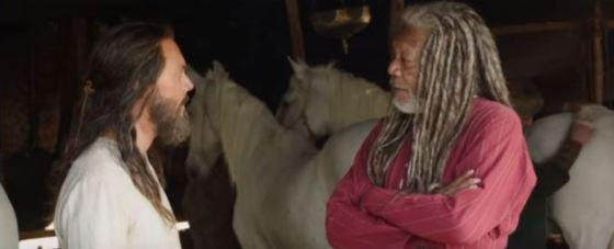 Jack Huston and Morgan Freeman in Ben-Hur (2016)