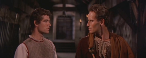 Stephen Boyd and Charlton Heston as Ben-Hur and Messala