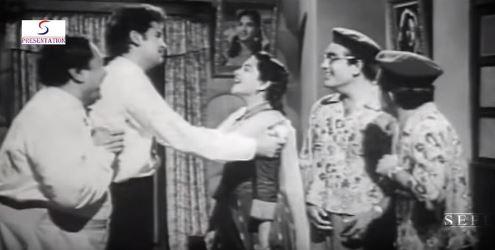 Ram Avtar, Shammi Kapoor, Nalini Jaywant, Rajendranath in Hum Sab Chor Hain