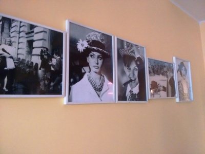 A wall at Artusi: Sophia Loren, Gina Lollobrigida, and more.